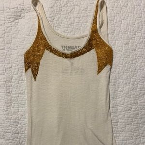 Gold beaded structured tank top threads 4 thought